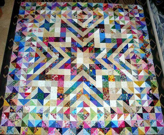 GORGEOUS RAINBOW STAR  Quilt Top Fabric Blocks