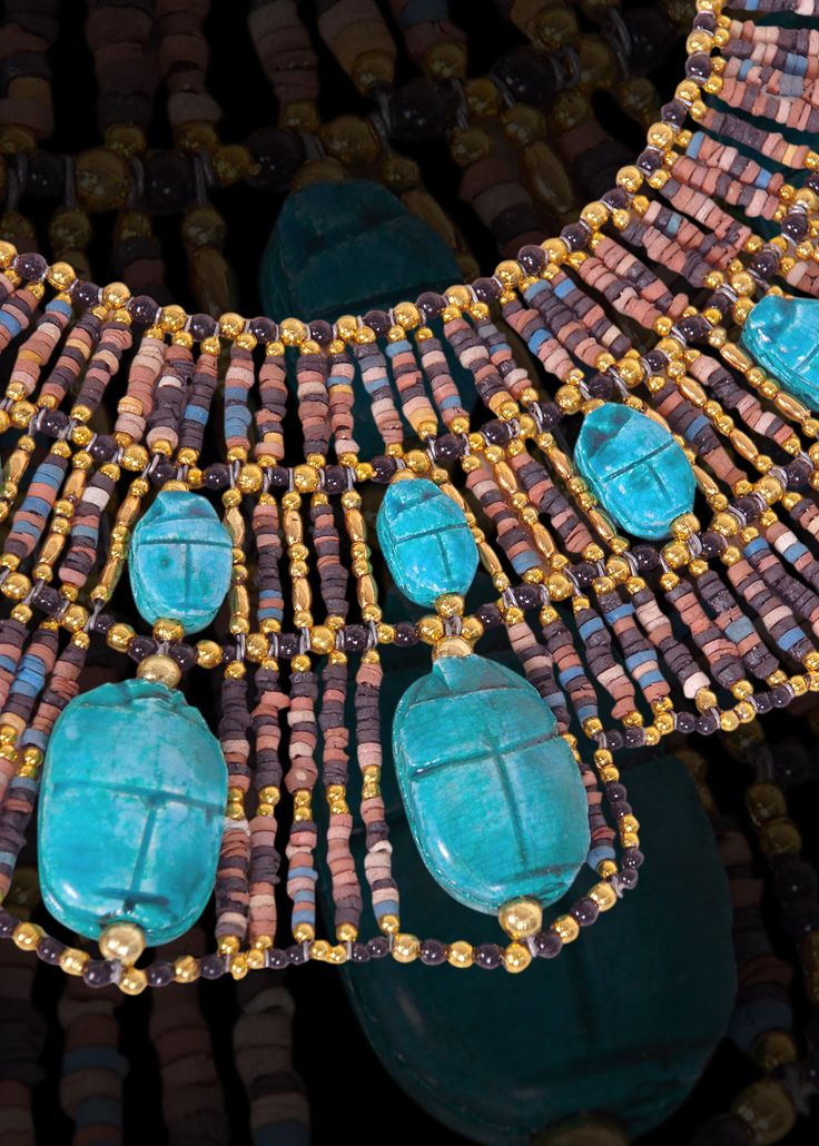 Egyptian Mummybead Queen Cleopatra Necklace 22 Scarab n by thenile, $29.00