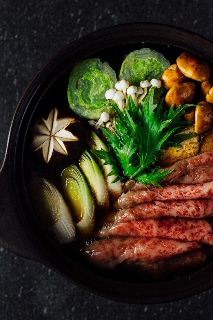 A comforting Japanese beef sukiyaki recipe from Hideki Hiwatashi featuring mixed…