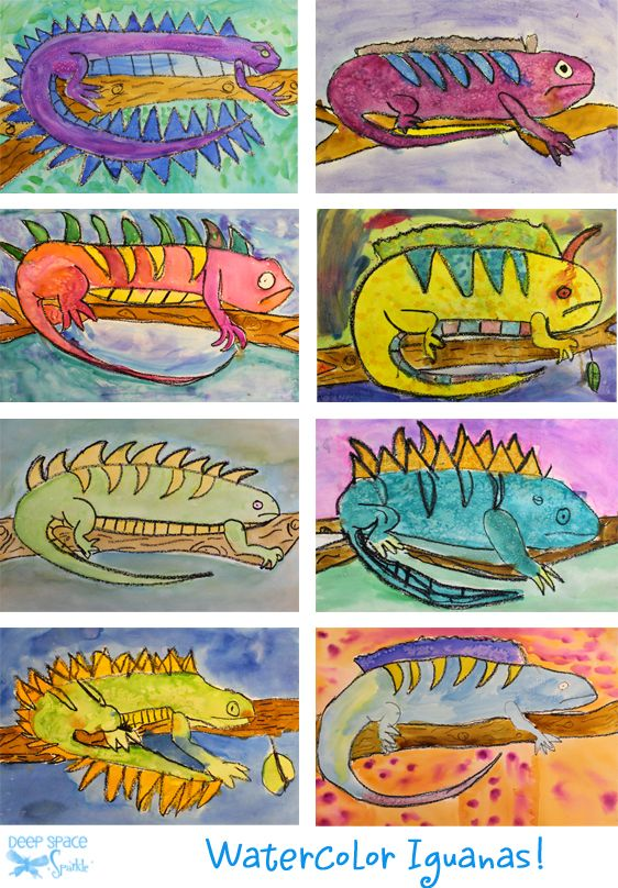 Iguana drawing/watercolor lesson for elementary