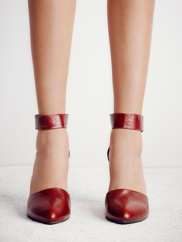 Peaks Point Wedge   Leather nubuck pointy toe wedge with easy adjustable hook and loop fastener ankle straps. Handmade.