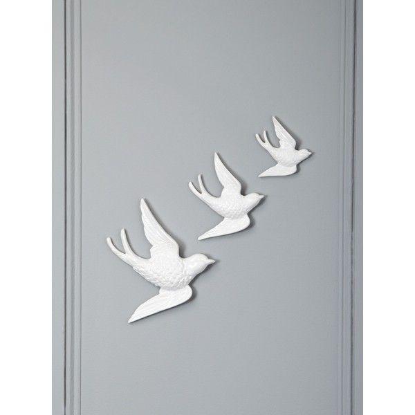 Linea white ceramic bird wall art house of fraser