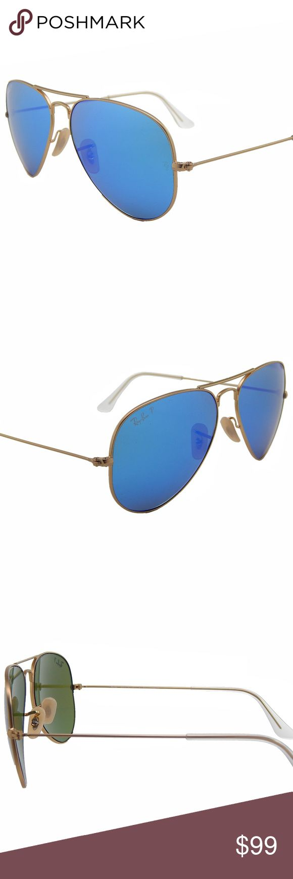 New Ray Ban RB3025 112/4L Polarized Lenses Sunglasses come with Ray Ban case only and SunglassExpo cloth.   MODEL: Aviator RB3025 112/4L FRAME: Matte Gold LENS: Blue MADE IN: Italy  FEATURES:      Ray-Ban is the world's most iconic Eyewear brand and is a global leader in its sector.     Ray-Ban is a brand that embodies America and adventure, great cities and wide-open spaces.     Ray-Ban consistently blends high-tech design, lenses, and materials     Polarized lenses.  100% SATISFACTION…