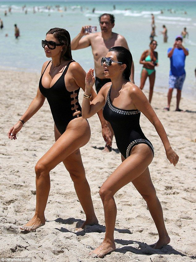 Yummy mummies: The Calabasas socialite was joined on the sand by 41-year-old mother-of-four Larsa Pippen, who's married to former NBA star Scottie Pippen