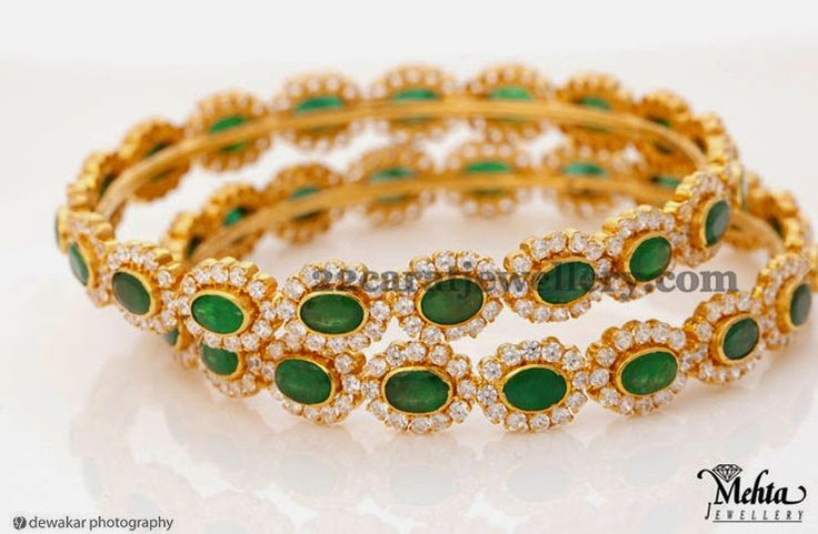 Jewellery Designs: Emeralds Diamond Bangles by Mehta