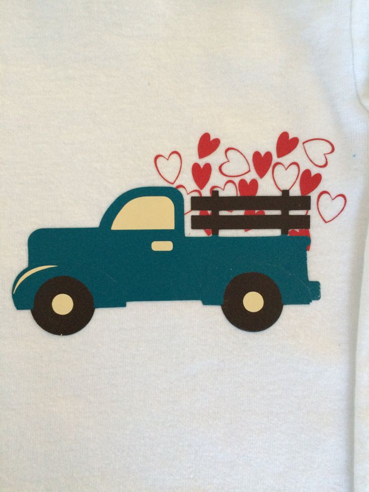 Boy's Valentine's Day Shirt, Pickup Truck, Love, Hearts by MattyJDesigns on Etsy