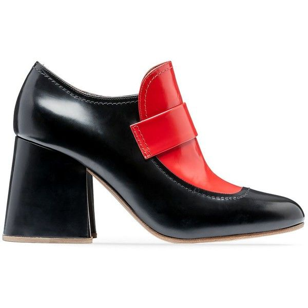 Marni Pumps ($850) ❤ liked on Polyvore featuring shoes, pumps, black e indian red, black chunky heel pumps, wide heel pumps, leather sole shoes, black loafer shoes and chunky heel loafers