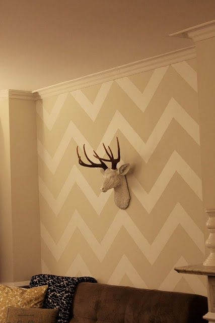 Chevron painted walls...I'm obsessed!Wall Pattern, Chevron Walls, Animal Head, Chevron Pattern, Contact Paper, Interiors Design, Deer Heads, Chevron Stripes, Accent Wall