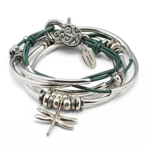 Lizzy James Dragonfly 2 strand wrap bracelet in Metallic Teal leather, comes as shown