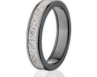 6mm demi rond météorite anneaux & bandes anneaux de mariage