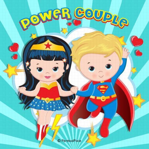 Valentines Day Clipart Superhero Valentines Power Couple Etsy In 2021 Valentines Day Clipart Superhero Valentines Superman Clipart