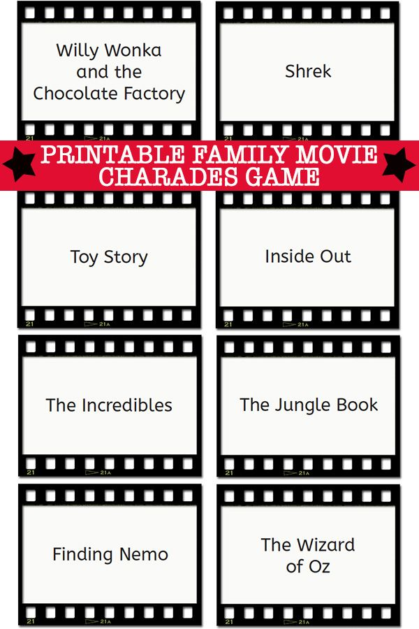 Charades Ideas Family Movie Charades Cards Printable Cash Math
