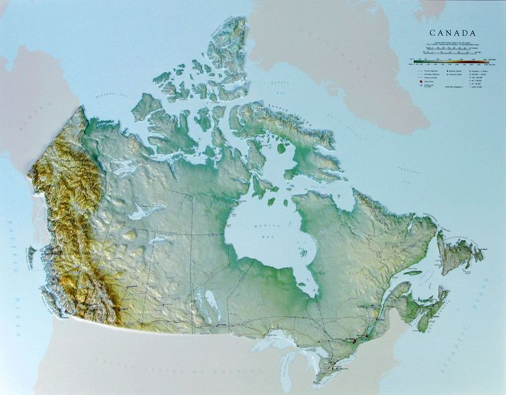 Raised relief map of Canada (With images) Relief map