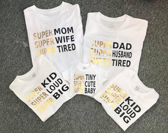 02ec274e5 Super Mom, Super Dad, Super Kid, Super Baby, Family tshirts, funny family  shirts, statement tee, Per