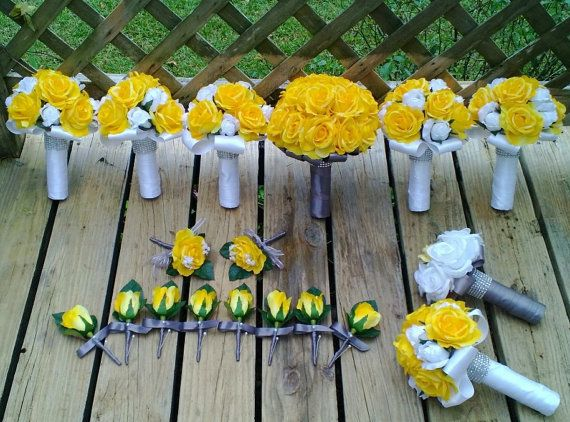 Yellow White Gray Wedding Set, need help designing your custom set contact Kim klking@silkflowersbyjean.com