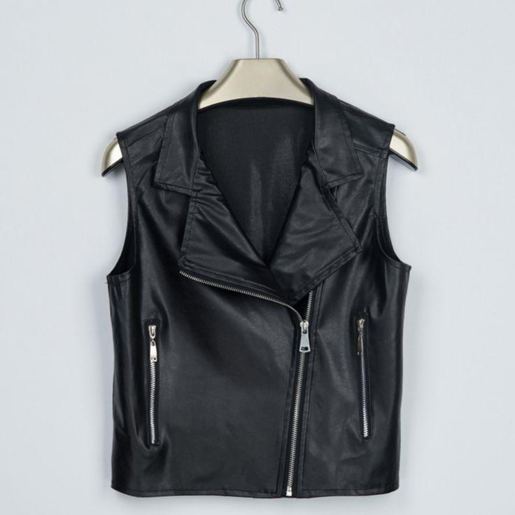 Women Leather Vest Jackets Short Coats Female Sleeveless Motorcycle Leather Jacket Casual Tops Locomotive Short Vest Coats #men, #hats, #watches, #belts, #fashion, #style