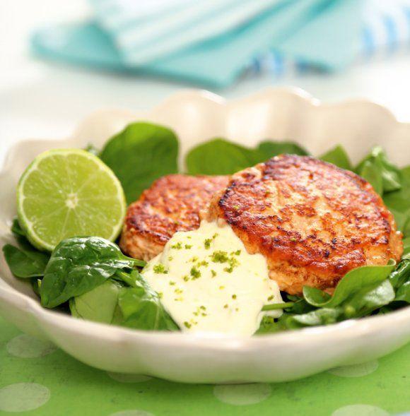 Laxbiffar med limeaioli | Recept.se