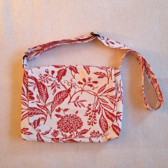 Canvas Messenger Bag  Red Floral Pattern on by StitchingNeedle