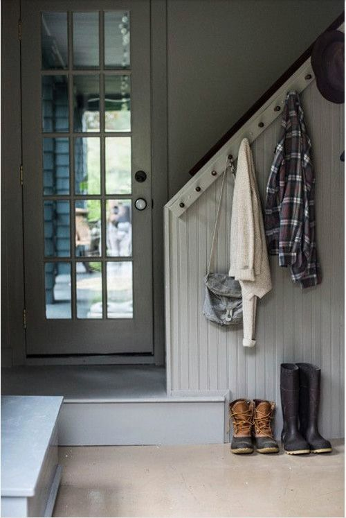 A creative way to use your staircase for storage in the hallway.