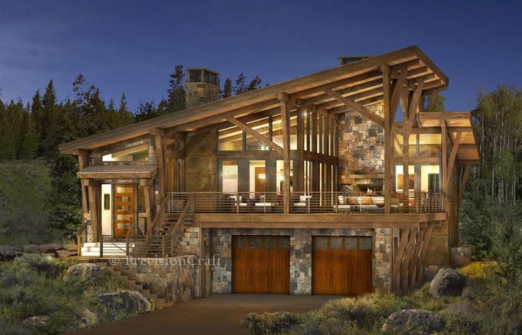 The Brighton is the first in a series of Mountain Modern floor plans from PrecisionCraft and M.T.N Design. This timber frame design features large walls of glass that blur the lines between interior and exterior spaces.