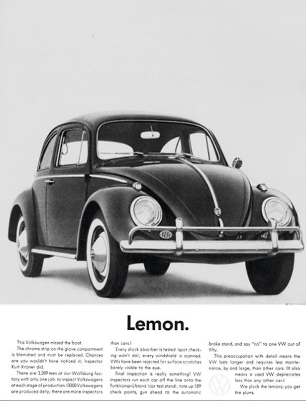 The real Mad Men ads of the 1950s & 60s - VW Lemon