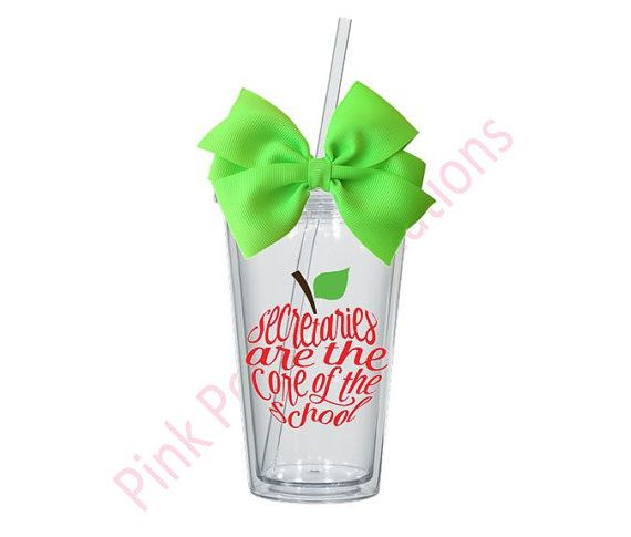Secretaries Are The Core of the School-Secretary Tumbler Gift  Each tumbler is 16oz, double walled and is BPA free. Tumblers are high quality and they do not come from the dollar store. To ensure continued care, please do not place into the dishwasher or microwave.  Please include the following in the notes to seller section: 1. Font Color for front Graphic 2. Font Color for Name 3. Name(s) for back of cup. *please note colors may vary from monitor to monitor.  *Coordinating colored bow will…
