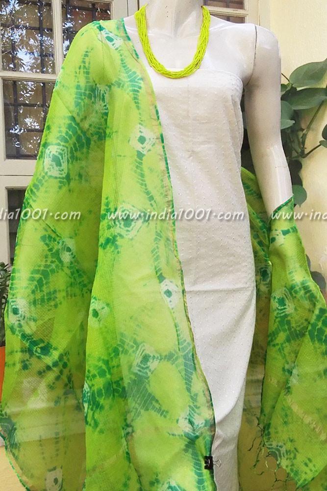 Designer Kota Silk Dupatta with Shibori & Bandhani Patterns