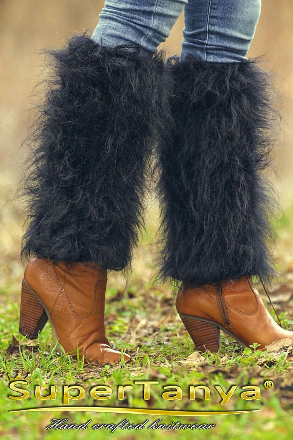 Black hand knitted fuzzy mohair spats fluffy gaiters by