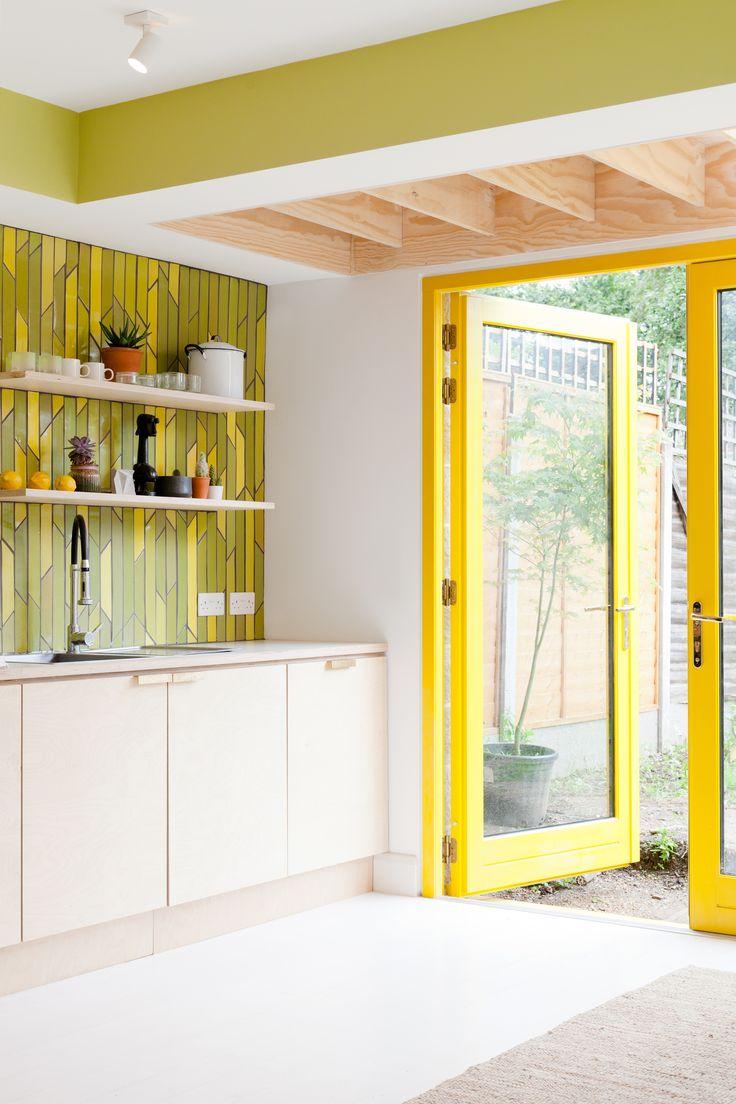 ply kitchen, formica worktop, white timber floorboards, Emma Payne ceramic splashback, ply roof