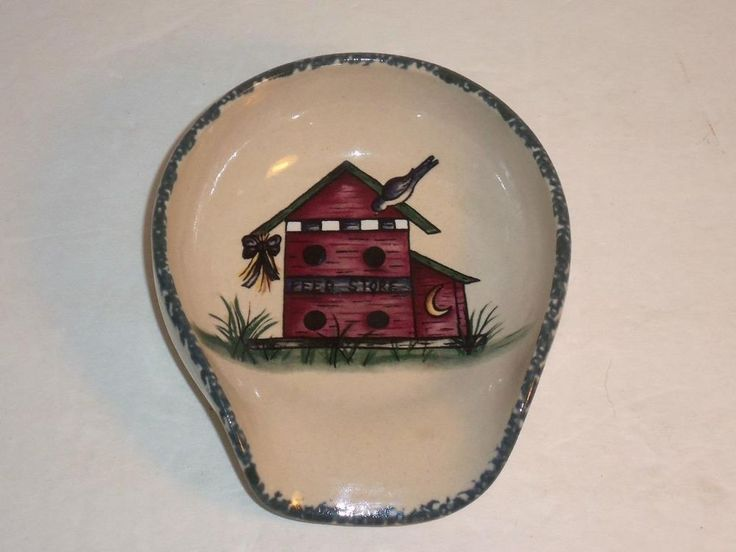 Home U0026 Garden Party Stoneware Birdhouse Spoon Rest Sept. 1999 Made In USA  #HomeGardenParty