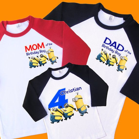 Minions Birthday Shirts. Set of 3 Family Birthday Raglans. 1
