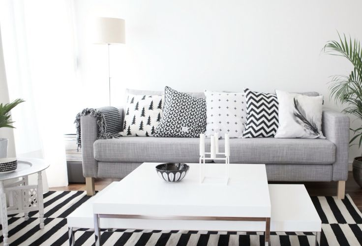 Karlstad isunda gr grey sofa soffa ikea vardagsrum for Almohadones para sillones