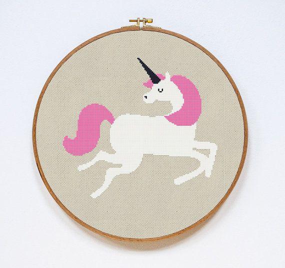 Unicorn Cross Stitch Pattern, Modern Cute Animal Counted Easy Stitch Chart, PDF Format, Instant Download