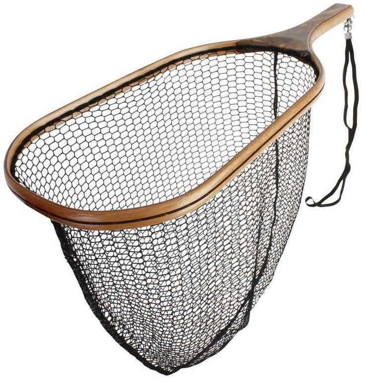 Landing net wood scierra trout wooden net antique new for Wooden fishing net