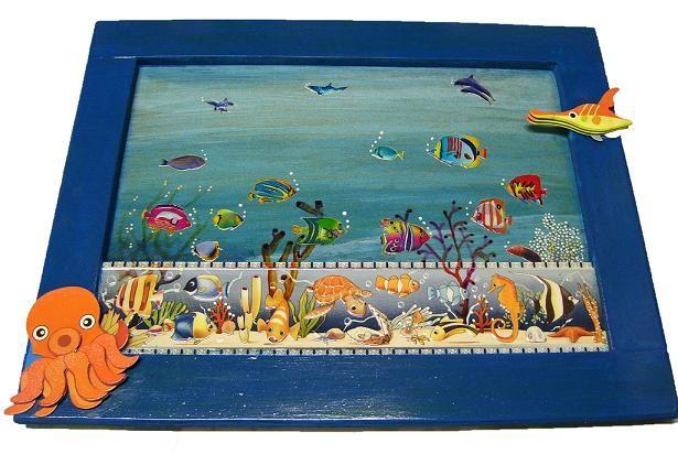 CLAF - Original Cuadro Fondo Marino 3D (Cod 566 - Cuadro) Fondo de mar en cerámica. Resto del cuadro pintado a mano. Medida: 49 x 38 cm Precio: $ 8.000 www.claf.cl
