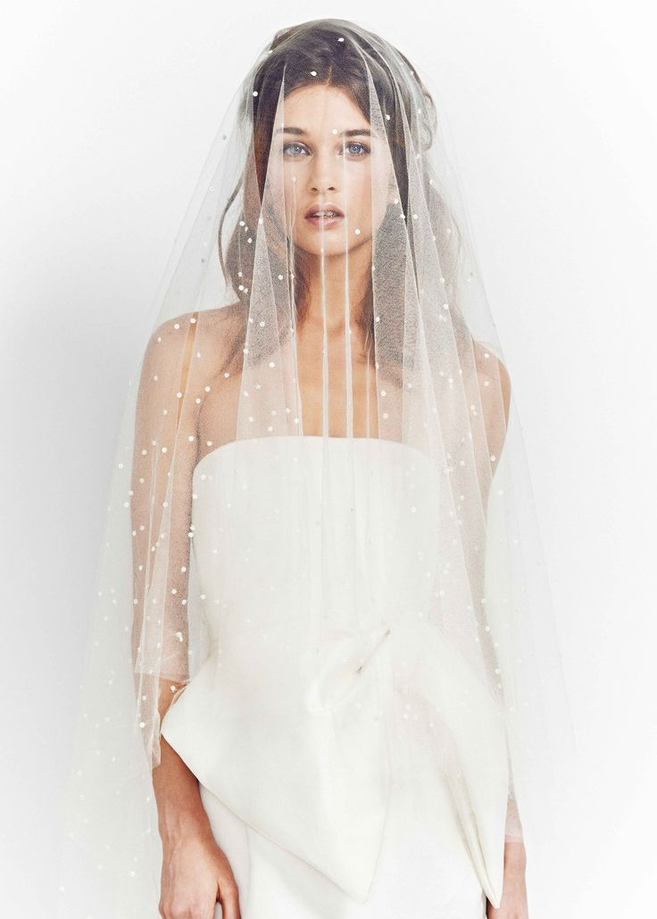 Luna Bea S/S16 Look Book Look 11 Hand embroidered, graduated polka dot mid-length silk tulle veil. Bridal headpiece, cool bride, modern bride, Wedding hair, Boho Bride, Hair up.