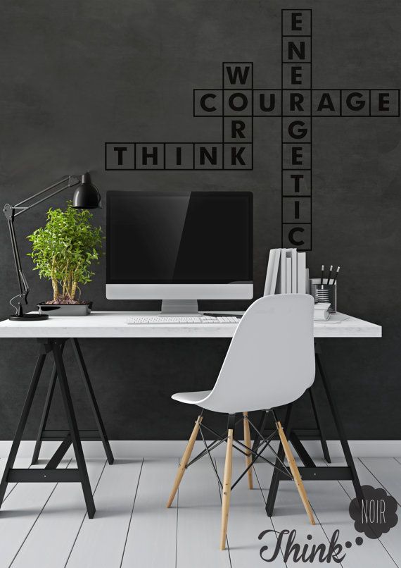 Office Decor Crossword/ Workplace wall decal/ Black by ThinkNoir