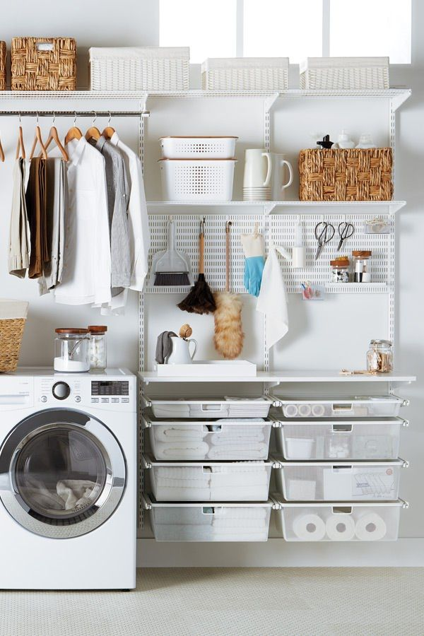 White Elfa Laundry Solution Laundry Room Design Closet Remodel