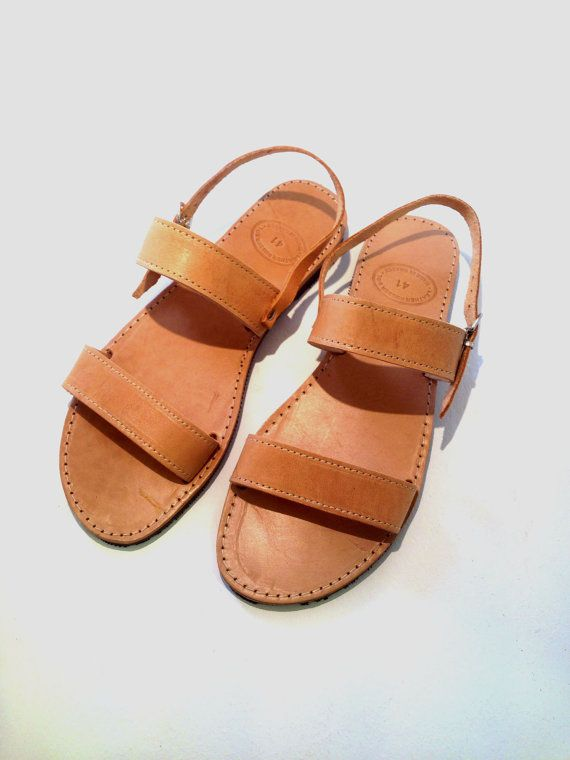 Leather Sandals genuine with straps handmade by SANDALIANAS, $38.00