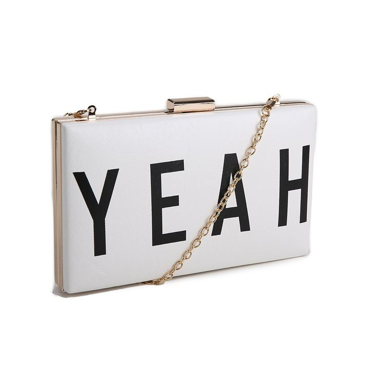 """Say """"YEAH"""", YEAH! ...to a night out, to a dinner date, to anything! Say it in black or white. Clutch onto this clutch from www.borsetta.london xx Hols xx"""