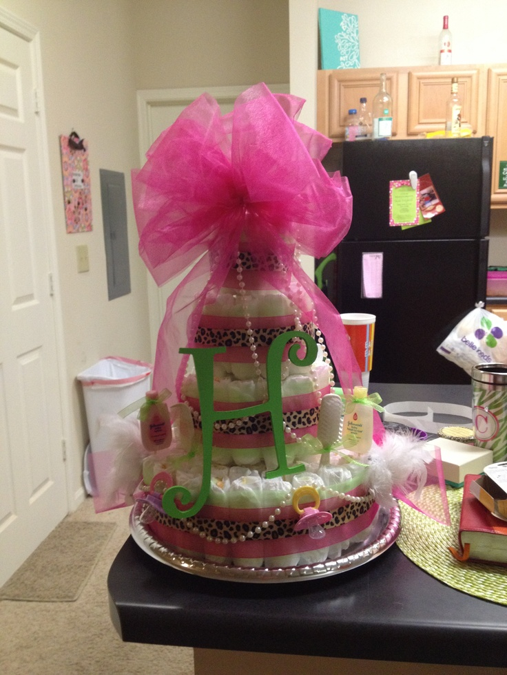 Hot Pink Lime Green And Cheetah Diaper Cake For A Sweet