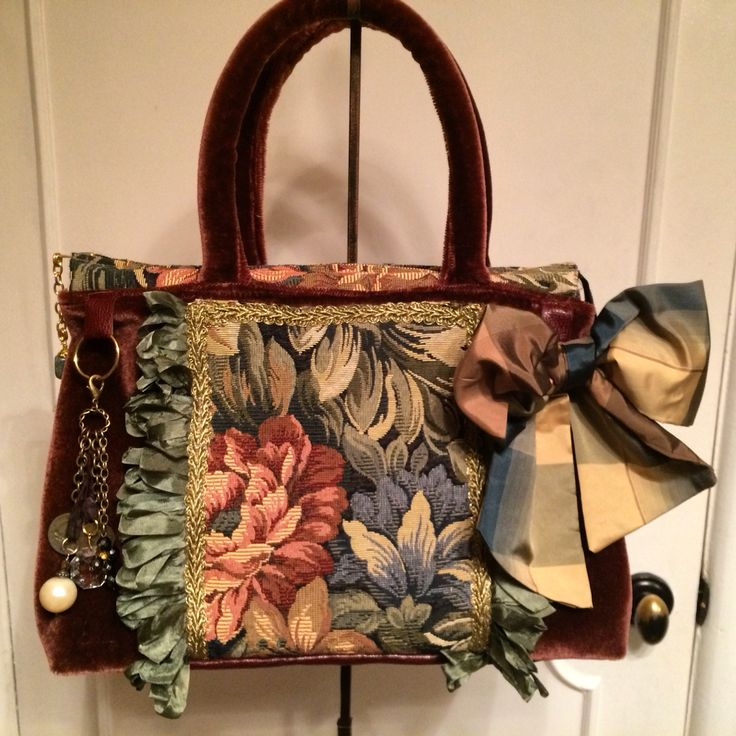 Velvet carpetbag,tapestry, loop trim,silk bow,charms from Delightful Creation