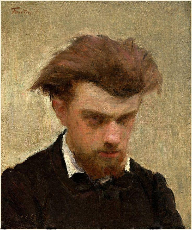 Henri Fantin-Latour (1861) autor retrato -  National Gallery of Art, Washington  No início de sua carreira, entre 1854 e 1861, Fantin-Latour executou um grande número de auto-retratos em giz, carvão e óleo.   Este exemplo revela o seu fascínio com a obra de Rembrandt e Courbet, que usaram largos e ricos traços de pintura e formas retratadas como se estivessem emergindo de uma escuridão envolvente.
