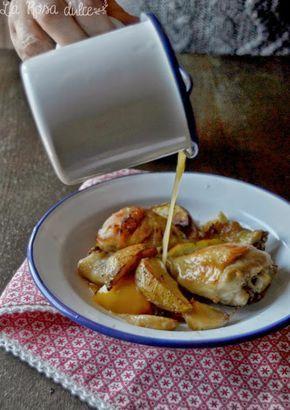 Pollo al horno con limón, ajo, tomillo y patatas especiadas - La Rosa dulce