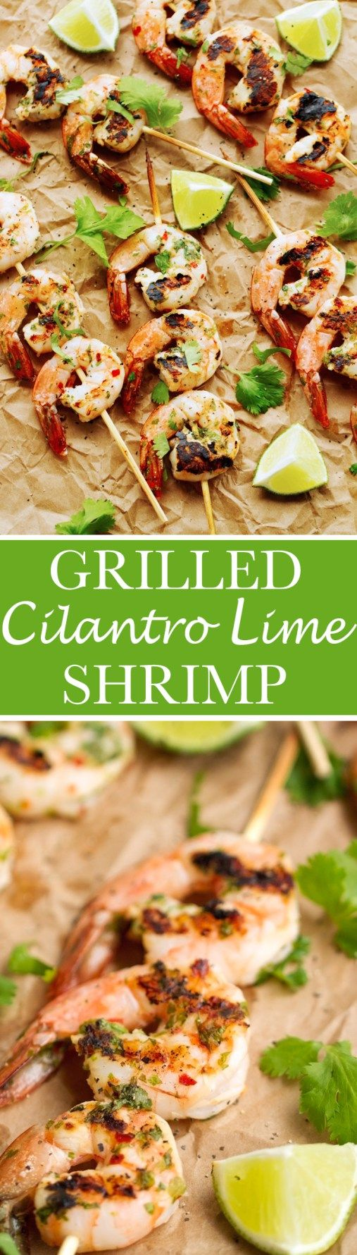 Grilled Cilantro + Lime Shrimp Skewers that are perfect for grilling this summer! Easy to make and less than 10 ingredients! #shrimpkabobs #shrimpskewers #grilledshrimp | Littlespicejar.com