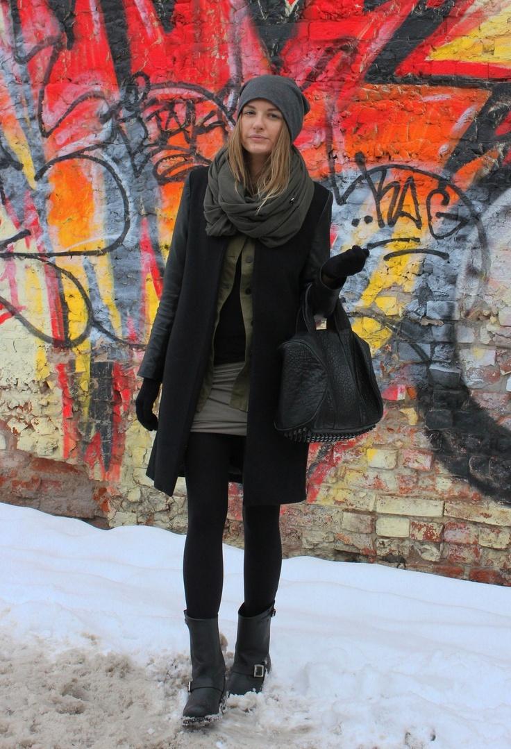 Khaki  #fashion #style #outfit  #look , Zara in Coats, Alexander Wang in Bags, T by Alexander Wang in Skirts, Zara in Blazers, Frye in Boots