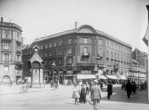 Vesterbrogade - Værnedamsvej i 1919. Biografen på hjørnet af Frederiksberg Allé 1908-1926. Foto Elfelt.