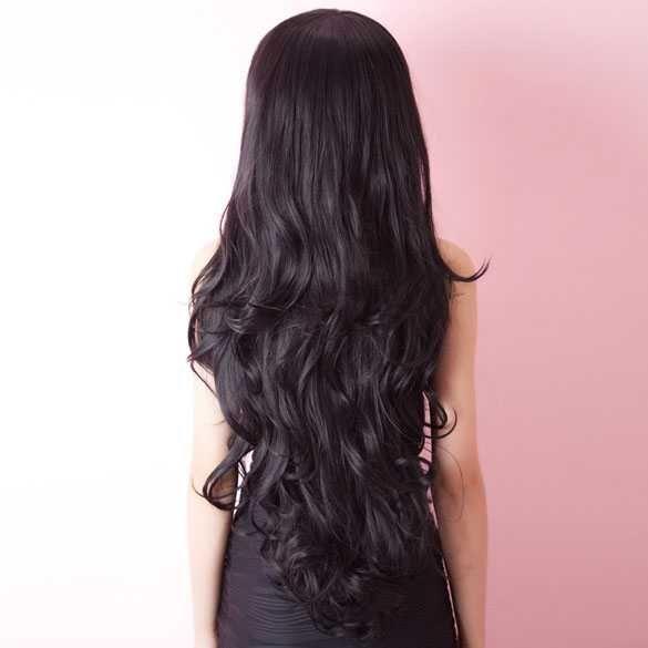 Mooie sexy pruik zeer lang zwart haar met slagen