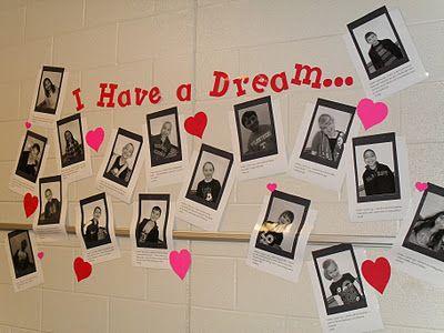 I have a Dream, een zwart wit foto van de leerlingen en het antwoord op de vraag: wat is jouw droom?