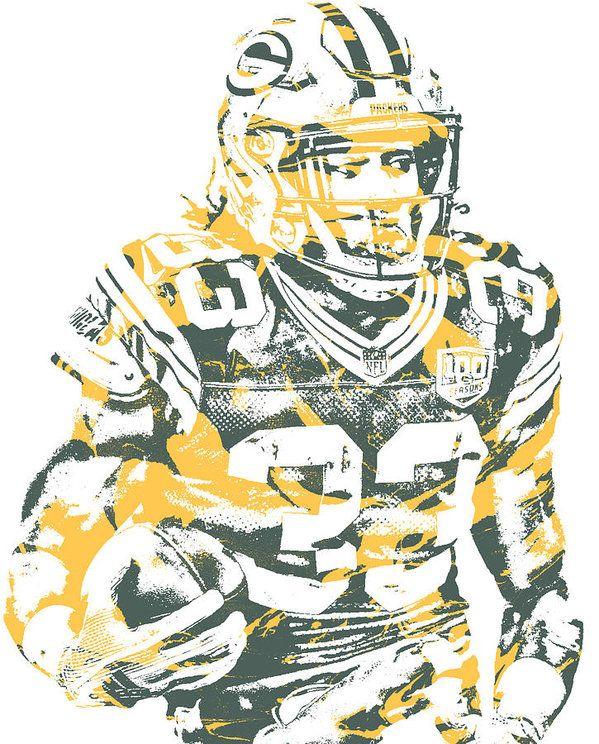 Aaron Jones Green Bay Packers Pixel Art 2 Art Print By Joe Hamilton In 2020 Pixel Art Green Bay Art